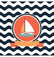 card at sea sailing yacht vector image