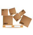 cardboard boxes with cargo fallen and scattered on vector image