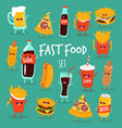 animated fast food set vector image vector image