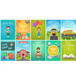 back to school card template banners set school vector image