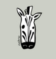 beautiful hand drawn cartoon style zebra head vector image