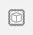blockchain with cube outline icon or logo vector image vector image