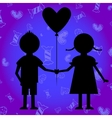 boy and girl with baloon vector image vector image