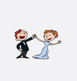 couple of newlyweds dancing happy vector image vector image