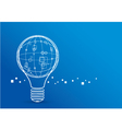 Creative Light Bulb With Global Design on Blue Bac vector image