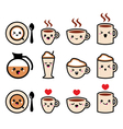Cute coffee cappuccino and espresso kawaii icon vector image vector image