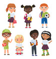cute pupils boys and girls school kids vector image vector image