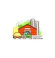 farming flat in linear design vector image vector image