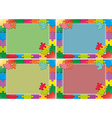 Four frames design with jigsaw puzzle vector image