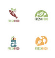 fresh food logo template organic food logo vector image vector image