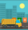 garbage truck in city concept background flat vector image