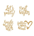Golden Quotes set for Valentines day vector image vector image
