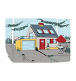 hand drawn cottage modern private residential vector image vector image