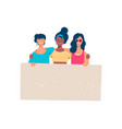 happy diverse girl group holding blank banner vector image