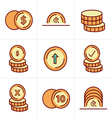 Icons Style Coins Icons Set Design black color vector image vector image