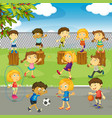 many kids playing in the park vector image vector image