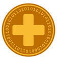 medical cross digital coin vector image vector image