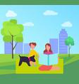 mother and daughter with little dog in city park vector image