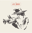 musician plays trombone hand drawn sketch vector image vector image