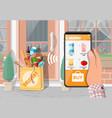 paper bag groceries left at door house vector image
