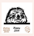 peeking funny sloth - funny sloth out vector image vector image