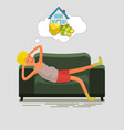poor man lying on couch vector image