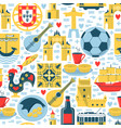 portugal seamless pattern with icons in flat style vector image