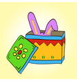rabbit ears stick out of the magic box vector image vector image