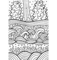 sea and river waves doodle artwork for coloring vector image vector image