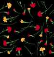 seamless carnation flowers pattern on black vector image