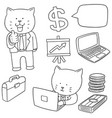 set of cat in business suit vector image vector image