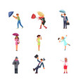 set of people in different seasons and weather vector image vector image