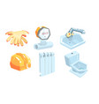 set plumbing and its parts vector image