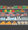 shelves with products food supermarket vector image