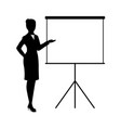 silhouette businesswoman present vector image vector image