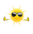 sun with sunglass cartoon art vector image vector image