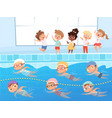 swimming competition kids water sport swimming vector image