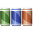 three aluminum cans with different color of labels vector image vector image