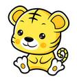 tiger character sits forward asian zodiac vector image