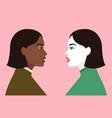 two women stand in profile sisterhood community vector image