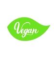 Vegan hand written lettering on green leaf