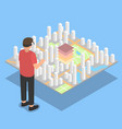 virtual reality city plan projection vector image vector image