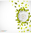 white flower and leafs on bright background vector image vector image