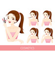 woman with step to apply lip makeup vector image vector image