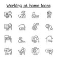 work from home icons set in thin line style vector image vector image
