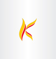 yellow red icon letter k logo vector image vector image