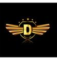 Letter D winged crests logo Alphabet logotype vector image