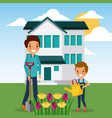 woman and boy watering flowers garden home vector image