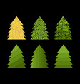 set of decorative new year and christmas trees vector image