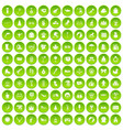 100 children icons set green vector image vector image